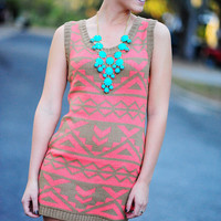 RESTOCK Obsessed With Aztec Sweater Dress: Coral | Hope's