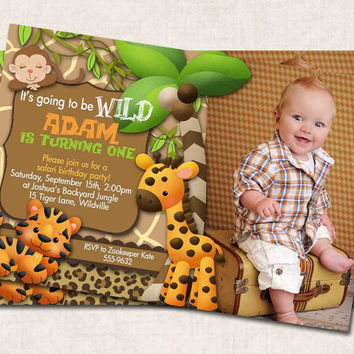 Safari Birthday Party Invitation, tiger, zebra, giraffe, jungle, monkey, (Digital) printable