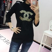 """Chanel"" Women Fashion Letter Rivet Tassel Middle Sleeve Bodycon T-shirt Tops"