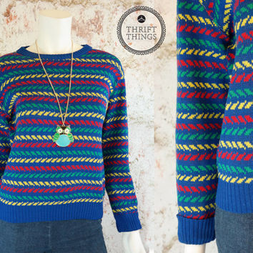 Vintage 80's Pullover Retro Sweater Bright Multi-Color Striped Hipster Bill Cosby Knit Neon Blue Yellow Red Green Crew Neck Small S Medium M