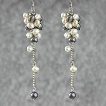 Gray white Pearl linear long chandelier statement earrings Bridesmaids gifts Free US Shipping handmade Anni Designs
