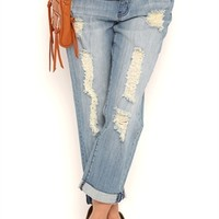 Almost Famous Medium Blasted Wash Destructed Cropped Boyfriend Jeans