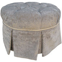 Angel Song 224820190 Versailles Velvet Silver Adult Park Avenue Round Ottoman
