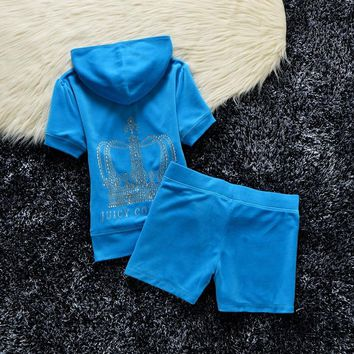 Juicy Couture Studded Crown Velour Tracksuit 609 2pcs Women Suits Blue