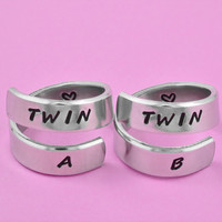 Twin A, Twin B - Hand Stamped Spiral Ring Set, Twin Sisters Matching Pair Rings, BFF Friendship Rings, Personalized Gift