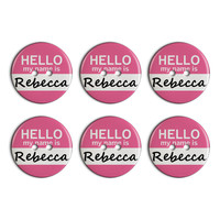 Rebecca Hello My Name Is Plastic Resin Button Set of 6