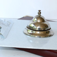 Vintage Countertop Service Bell , Business Alert Tap Bell , Vintage Office Bell , Old Chrome Store Bell