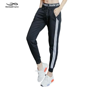 Mermaid Curve Running Exercise pants Dance Female  Side lines Sweatpants sports Womens Trousers Gym Fitness Loose Harem Pants