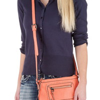 coral small crossbody bag with scalloped detail