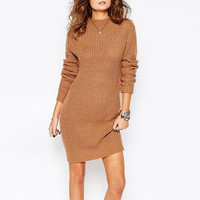 Brown Long Sleeves Chunky Knit High Neck Pullover Sweater