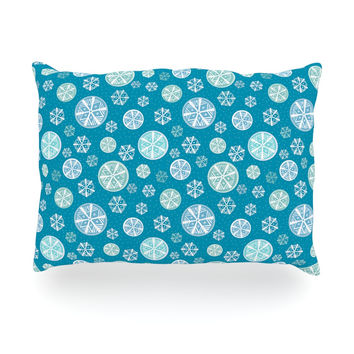 "Julie Hamilton ""Snowflake Sky"" Blue Oblong Pillow"