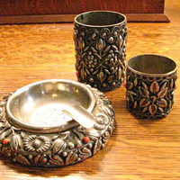 Smoking Set, Silver Metal, Ashtray, Cigarette Holder, Match Holder, Middle Eastern Bohemian Style, Floral Repousse, Coral Accents