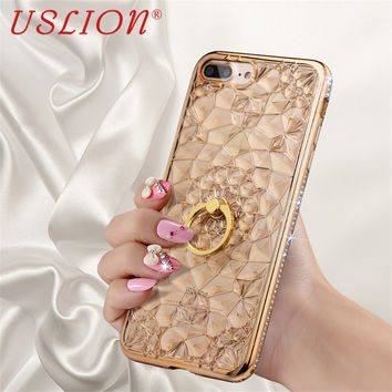 Phone Case For iphone 5s 6 6s 6Plus 6s Plus 7 7 Plus SE Electroplate 3D Bling Diamond Luxury Metal Ring Stand Back Cover Bags