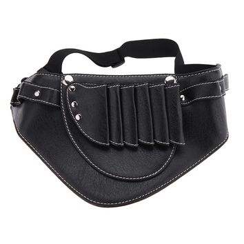 New Hairdressing Tool Waist Pack Bag with Soft Leather Essential Professional Stylists Hair Scissors Waist Pack Black