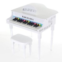 Barcelona Kid's 30-Key Baby Grand Piano with Matching Bench - White