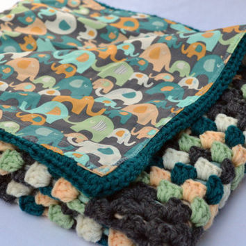 Elephants on parade crochet baby blanket, granny square reversible crochet baby blanket in teals and peach