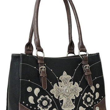 Cross Leather Designer Fashion Bling Western Stitch Rhinestone Stud Trendy Purse Handbag Black