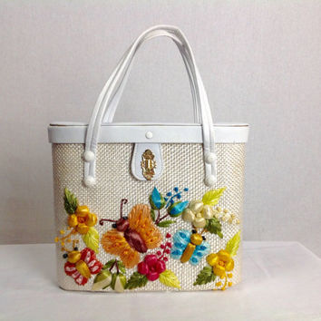Vintage 1960s Embroidered Butterfly and Flowers Bag Top Handle Box Purse