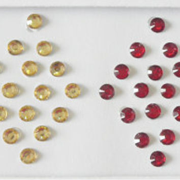 128 small size Silver Gold Red Black Clear crystal bindi dots,Round Plain bindi,Festival Face jewels,Fake nose stud,Body jewels,Indian bindi