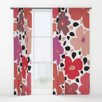FLoral vibes Window Curtains by vivigonzalezart