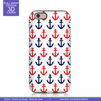 iPhone 6 6 Plus Case iPhone 4s case iPhone 5 5s case iPhone 5c case Samsung Galaxy S4 S5 Note 3 Moto G Nexus 5 - Red Blue Anchors Pattern