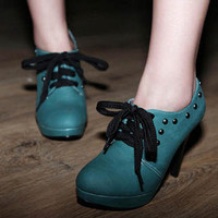 YESSTYLE: Smoothie- Lace-Up Studded Shoe Boots - Free International Shipping on orders over $150