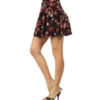 High Waisted Floral Skater Skirt