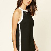 Contrast-Trim Mini Dress