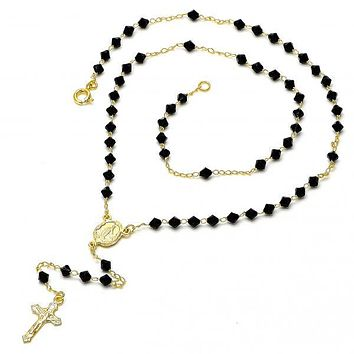 Gold Layered 03.09.0044 Thin Rosary, Caridad del Cobre and Crucifix Design, with Black Azavache, Polished Finish, Gold Tone