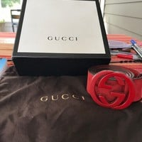 Red Suede Gucci Belt W/ Interlocking G's, Size 46