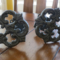 Curtain Tiebacks / Cast Iron Curtain Tie Backs / Drapery Tie Backs / Oil Rubbed Bronze /Cottage Chic / Shabby Chic / French Country Style