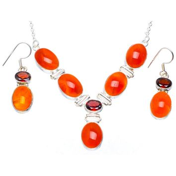 """Natural Carnelian and Garnet 925 Sterling Silver Jewelry Set Necklace 18.5"""" Earrings 1.5"""" A3478"""