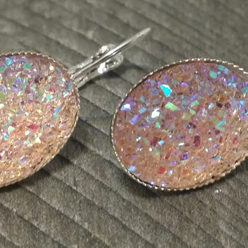 Druzy earrings-  ab light pink drusy silver tone dangle druzy earrings