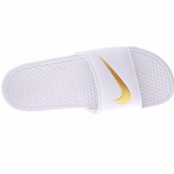 "Nike Benassi Just Do It Beach Slipper Sandals ""White"" 312618-109"