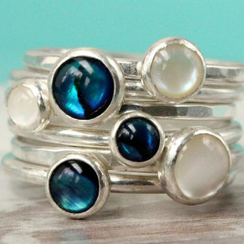 Stacking rings, blue and white bubble ring stack, sterling silver set of 6, abalone and mother of pearl handmade stackable rings for summer