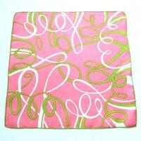 Marielle Linen Handkerchief Green Ribbons on Pink