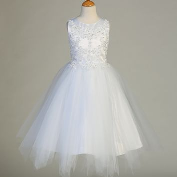 Embroidered Applique Communion Dress with Sequins and Tulle – SP612
