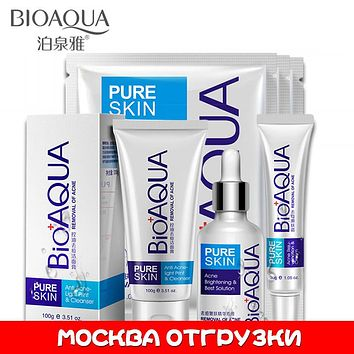 Bioaqua Acne skin care set acne treatment deep facial cleanser scar removal oil control strong effect