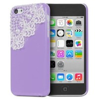 Fosmon GEM-LACE Series 3D Bling Lace Design Case for Apple iPhone 5C (Lavender)