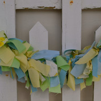 Scrappy Fabric banner blues, yellow and light green Easter banner mantle decor high chair banner