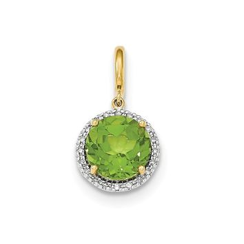 0.09 Ct  14k Yellow Gold Peridot W/diamond Halo Pendant