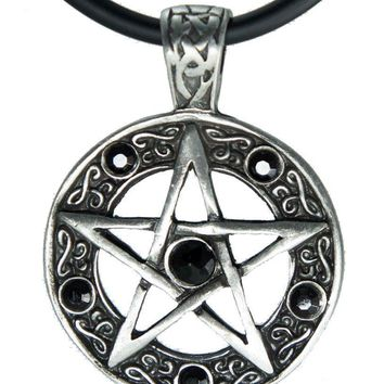 "Exoticdream Color Star Pentagram Pentacle Pagan Wiccan Witch Gothic Pewter Pendant + 18"" PVC Necklace"