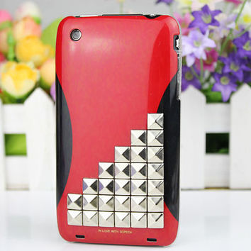 Silver Studs Case Cellphone Hard Case for Apple iPhone 3 Case, iPhone 3gs Case, iPhone 3g Hard Case, iPhone Case
