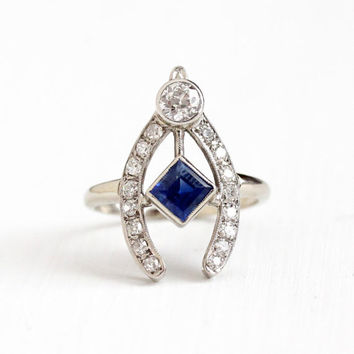 Vintage 14k White Gold Diamond & Sapphire Wishbone Ring - Size 8 1930s Old European Engagement Bridal Wedding Blue Gem Jewelry w/ Appraisal