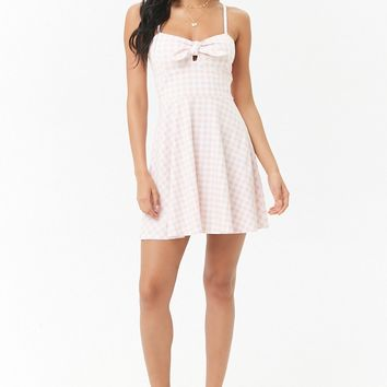 Gingham Tie-Front Fit & Flare Mini Dress