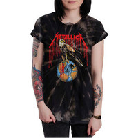 METALLICA Eagle 90's Women Custom Bleached T Shirt Vintage Retro