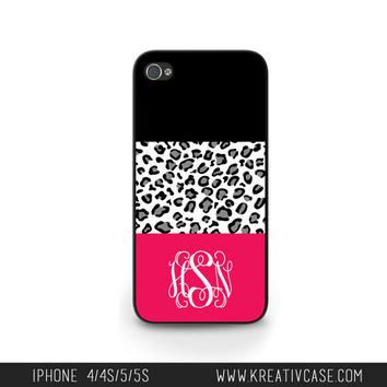 Personalized iPhone cases, iPhone 4 Case, iPhone 5 case, iPhone 4S, Leopard and Pink iPhone Case, Personalized iPhone Cover - K239