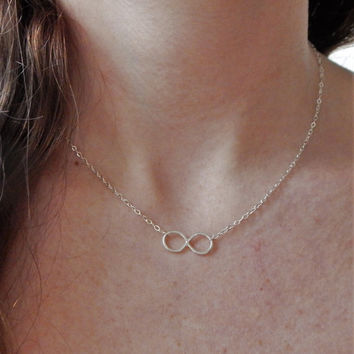 Sterling Silver Infinity Necklace, Infinity Symbol, Minimalist Necklace, Choker Necklace, Silver Friendship Necklace, Eternity Necklace