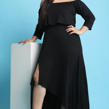 Off-The-Shoulder Long Sleeves High Low Dress