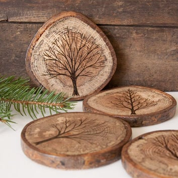 Set of 4 Rustic Wood Slice Coasters with Wood Burned Tree Designs. Spalted Oak with Cork backing.